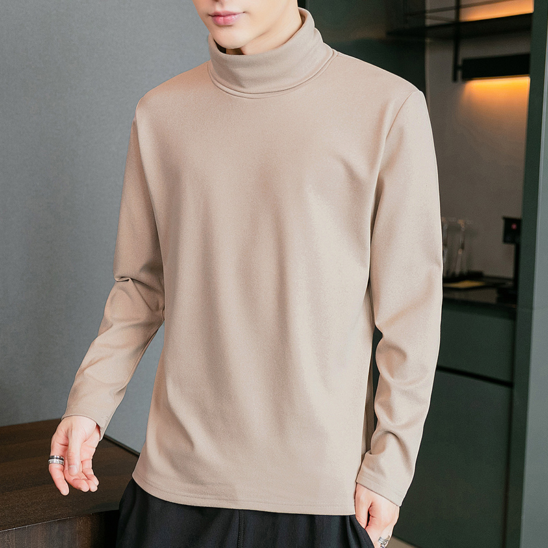 Autumn and winter new mens Korean half high collar solid color base Shirt Youth elastic thickening versatile long sleeve T-shirt trend
