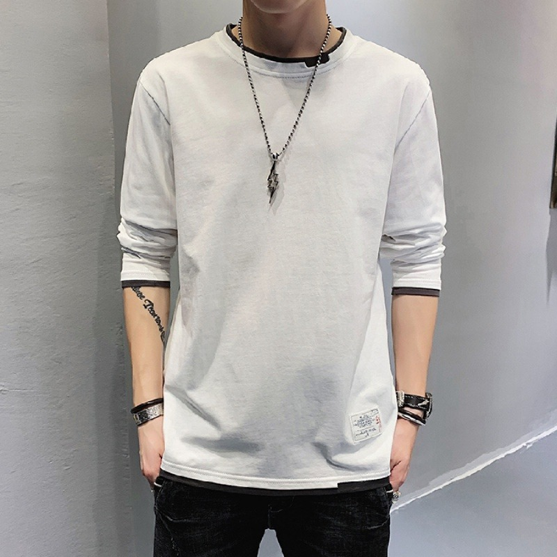 Autumn new Korean round neck color matching fake two-piece Top Mens loose long sleeve T-shirt casual bottom coat fashion
