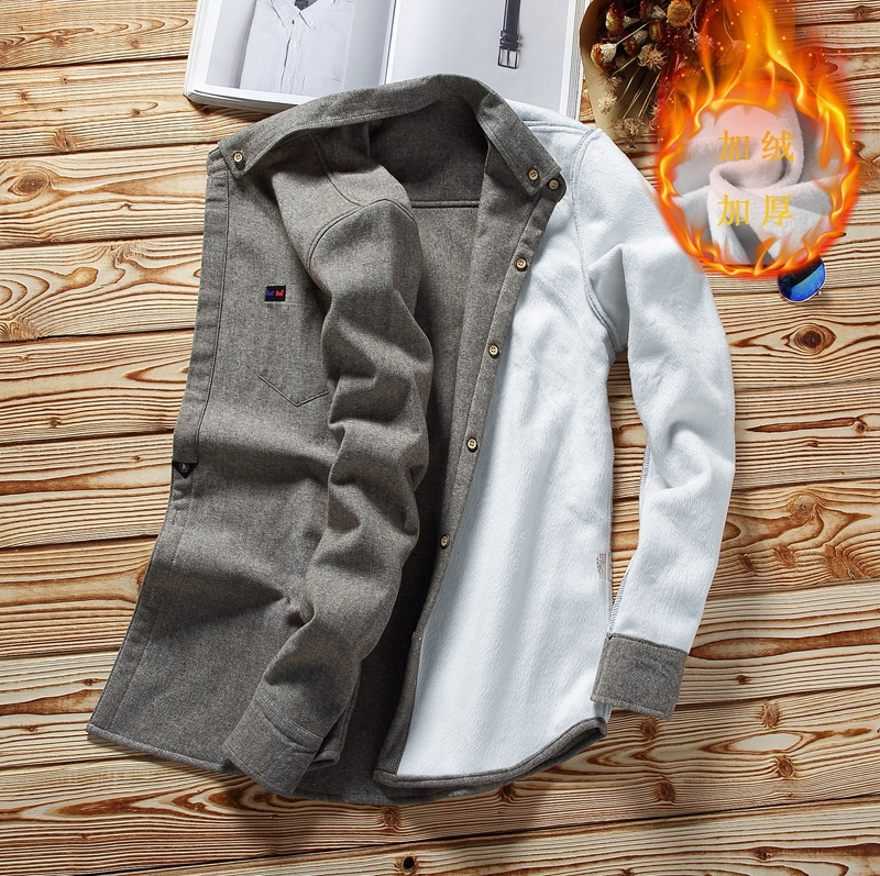 2020 winter new Japanese Plush warm slim long sleeve shirt trend mens thickened solid color shirt coat