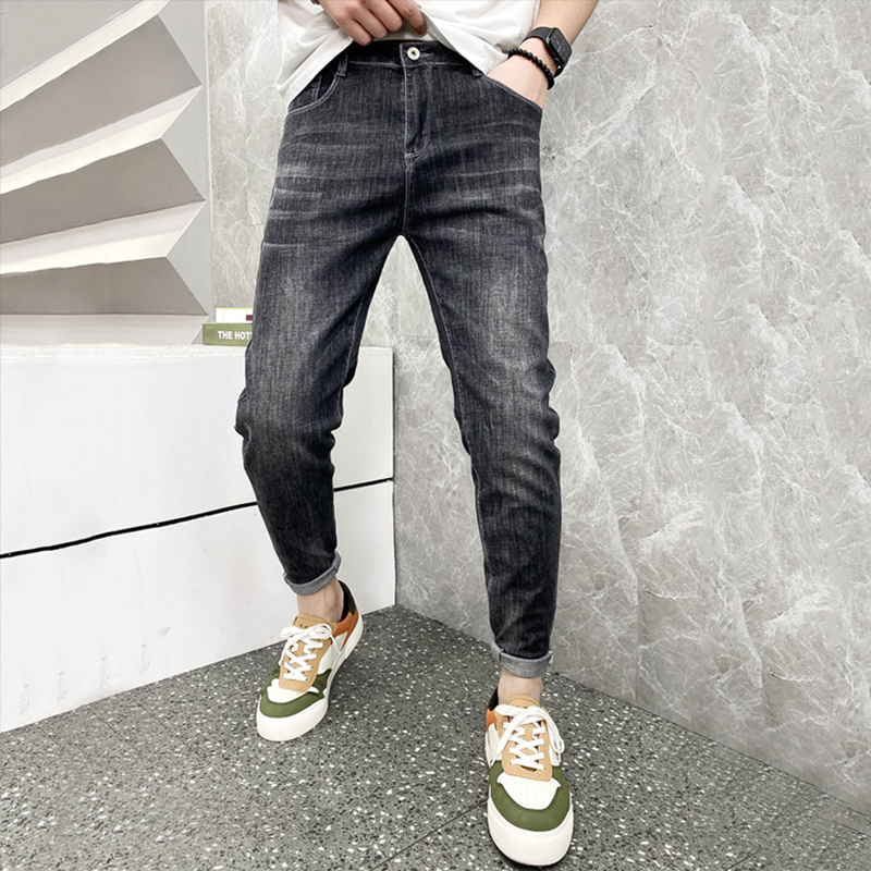2021 spring and summer new mens fashion brand handsome jeans small foot slim elastic versatile casual pants long pants