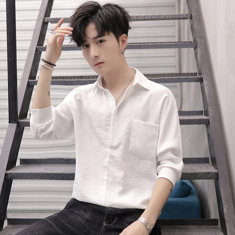 男七分袖套头衬衫松紧收腰夏季韩版潮流时尚修身纯色五分短袖T恤