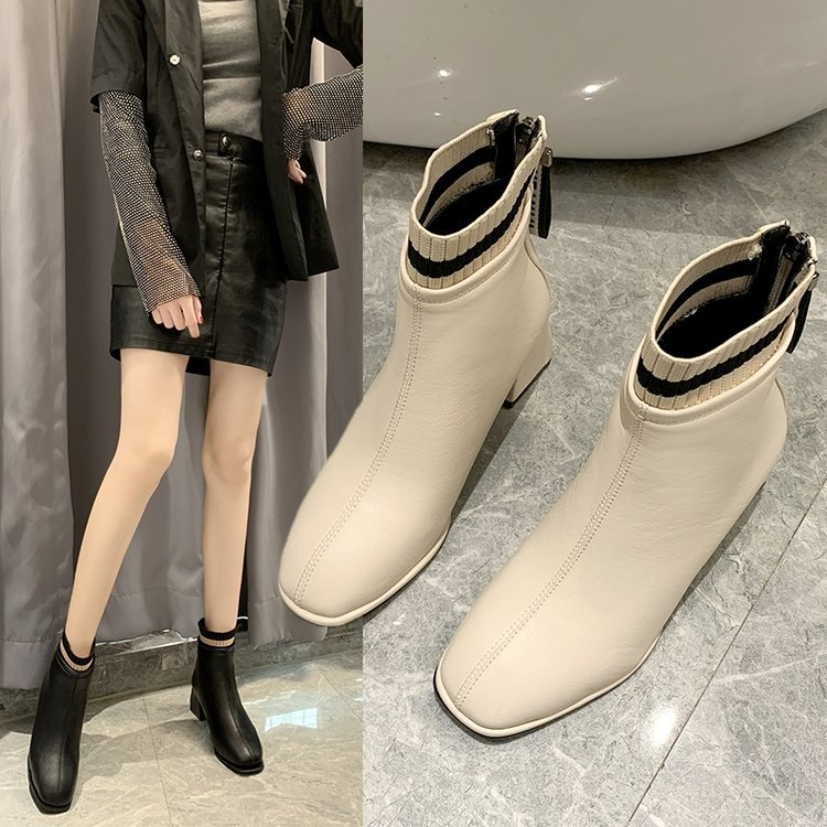 Childrens Martin boots 2020 autumn new Korean version simple square head versatile back zipper middle heel thick heel short boot girl