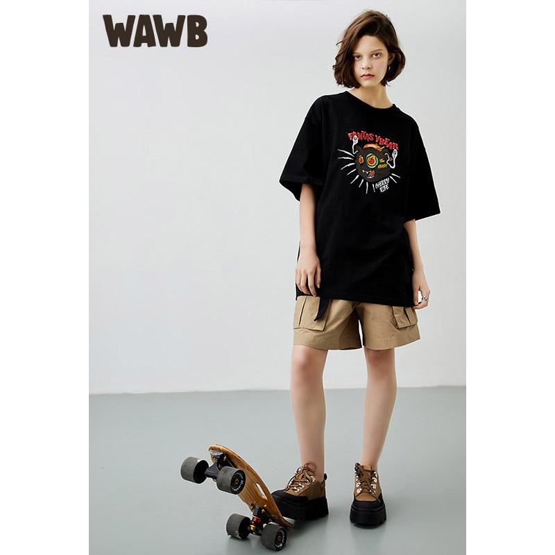WAWB 原创潮牌鬼脸熊手绘插画印花短袖宽松圆领情侣嘻哈T恤新疆棉