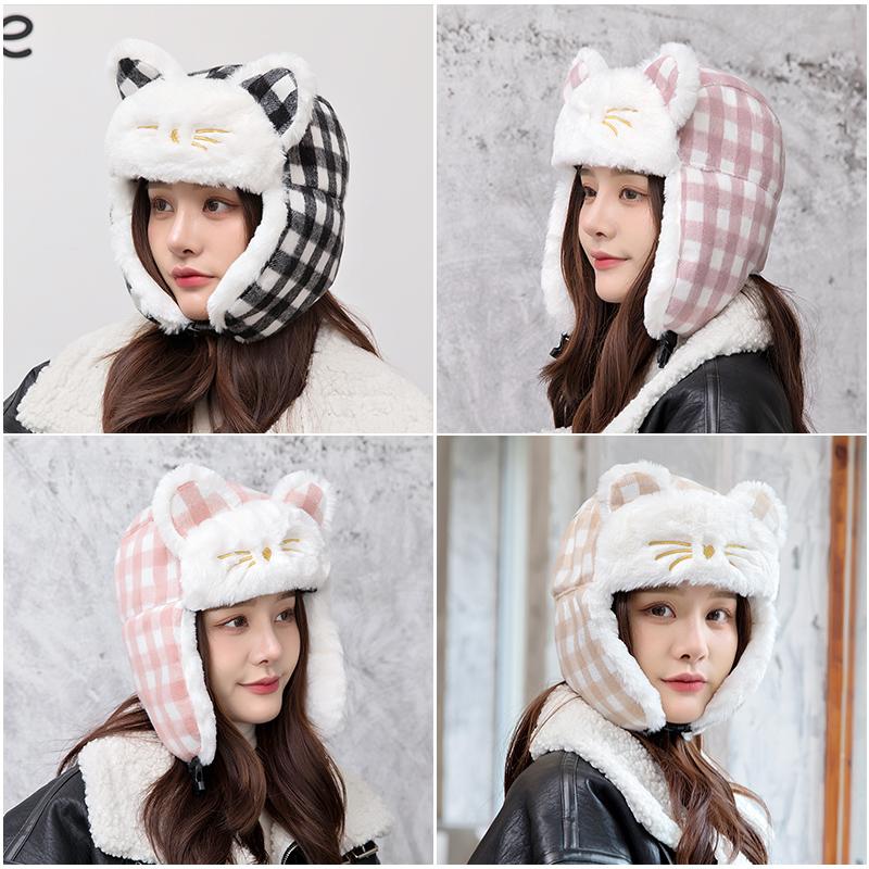 冬季甜美格子雷锋帽女 韩版潮流滑雪帽防风保暖护耳帽子东北帽