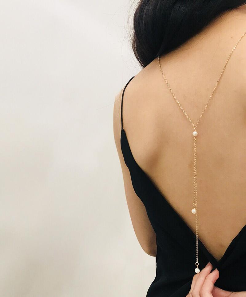 韩国美背后背链身体链饰品欧美简单珍珠金属项链女神性感时尚吊坠
