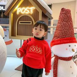 新年服男童女宝宝恭喜发财红包放这加绒加厚卫衣周岁服套装中国风