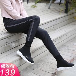冬新款高腰羽绒裤女外穿显瘦修身小脚裤白鸭绒加厚女士时尚棉裤子