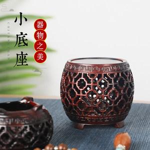 红木圆形茶壶底座实木镂空鼓凳形小花瓶盆景盆栽加高托架木雕装饰