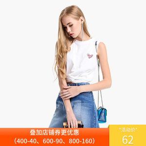 2件9折欧时力夏装刺绣交叉收腰短款时髦背心无袖t恤女1GY2026590