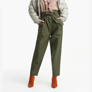ochirly欧时力秋冬装 裤 系带高腰休闲长裤 女1JH3067580 工装