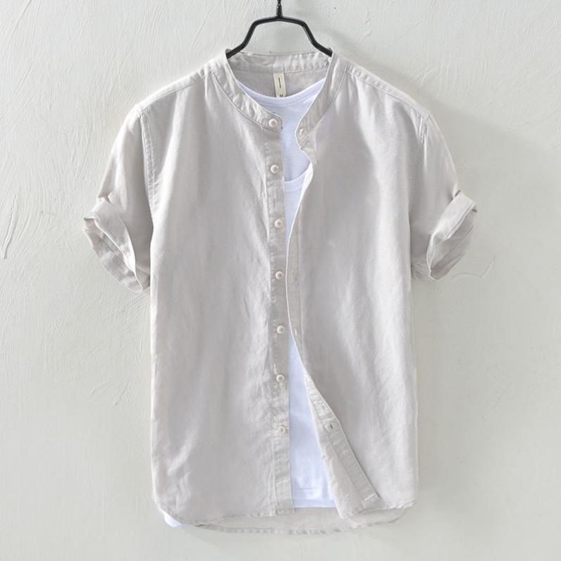 复古棉麻衬衫男士夏季日系宽松大码薄款立领外套纯色休闲短袖衬衣