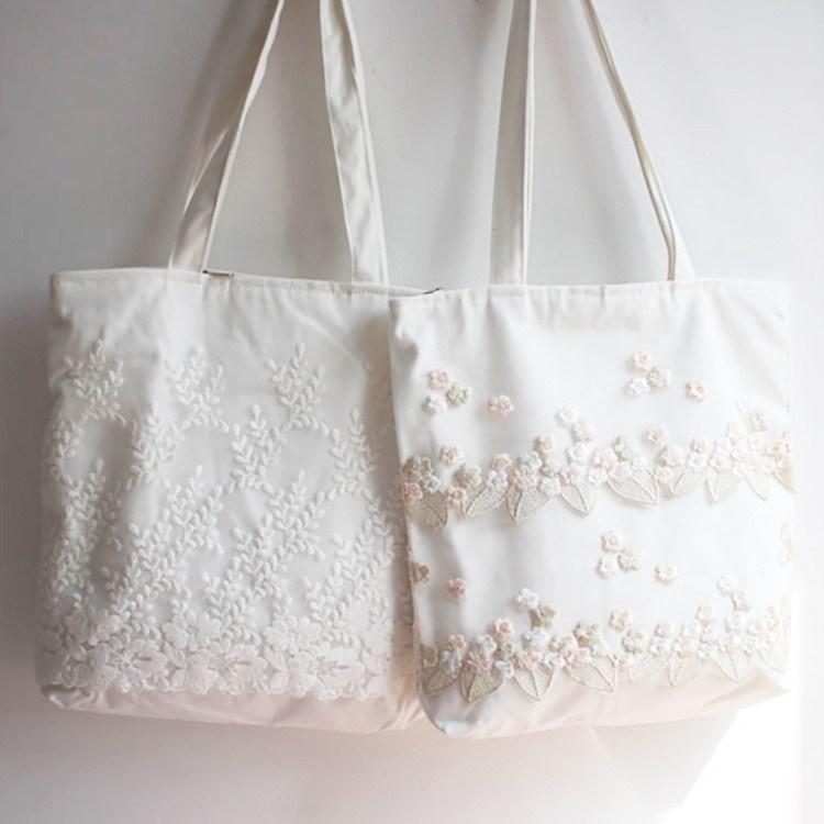 美しい手提げ袋の刺繍帆布の布の包みins韓国風の田園の小さい清新なレースのLolita