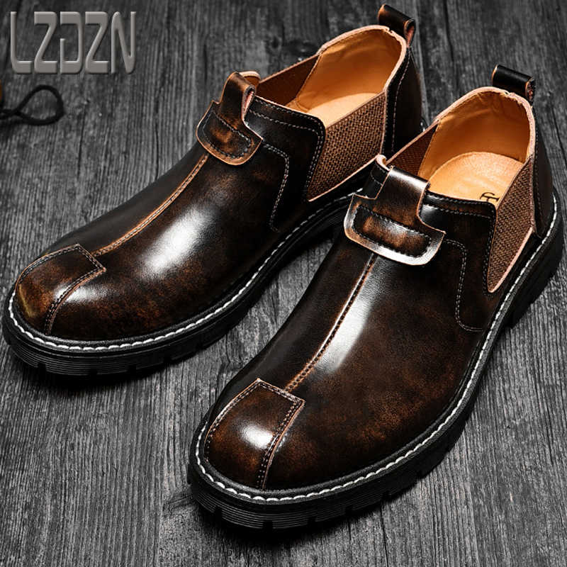 Shoeless casual tooling mens shoes big head real leather shoes Martin boots Chelsea boots low top spring Retro High Heels