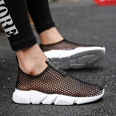 Summer mens breathable single layer net casual shoes mens clay large mesh walking shoes sandals lace less net sports shoes