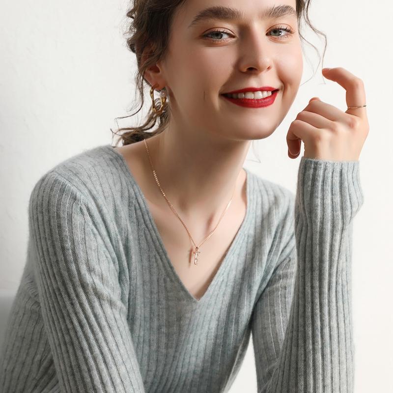 2020秋冬新款V领山羊绒衫套头上衣短款宽松针织羊毛打底衫毛衣女