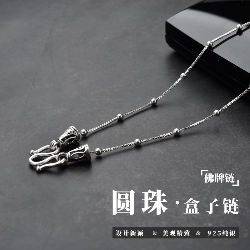 时尚泰国佛牌链子925925项链女1.5mm盒子圆珠锁骨链纤细长款吊坠 Изображение 1