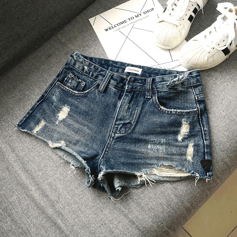 爆@2021夏季新款韩版深蓝色磨破洞包臀中低腰牛仔短裤女性感显瘦