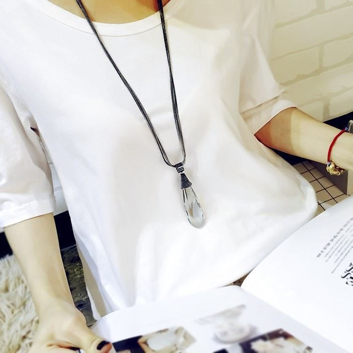 Long necklace accessories womens versatile clothes hanging accessories Korean retro chest chain sweater chain tassel pendant clothes hang