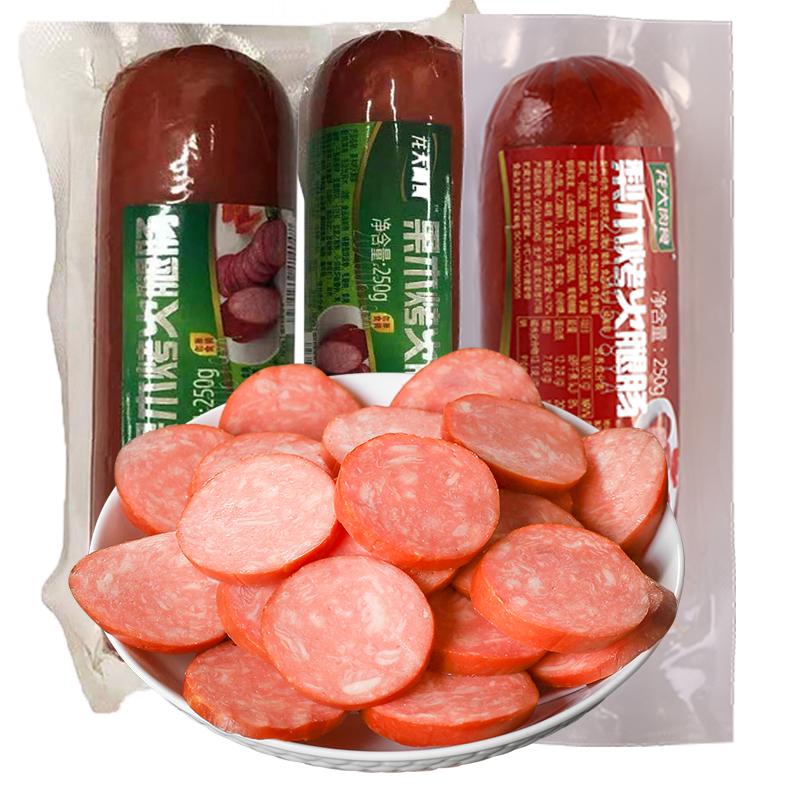 龙大肉食果木老火腿梨木熏烤蒸煮鸡肉猪肉粗大火腿肠250g*3根即食