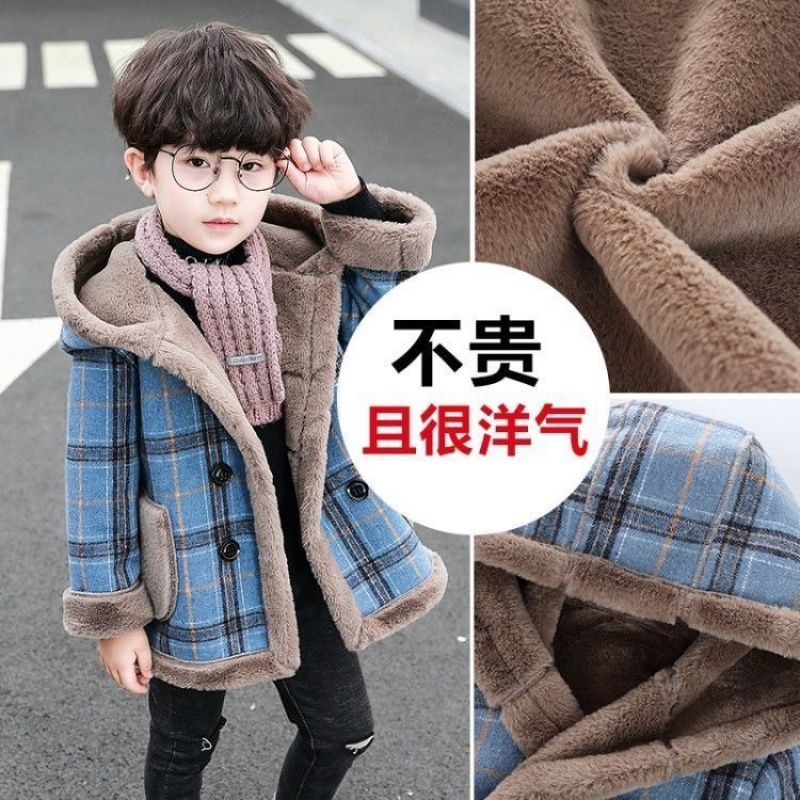 Boys 2021 childrens winter clothes plus new woollen coat suede baby coat thickened autumn and winter windbreaker