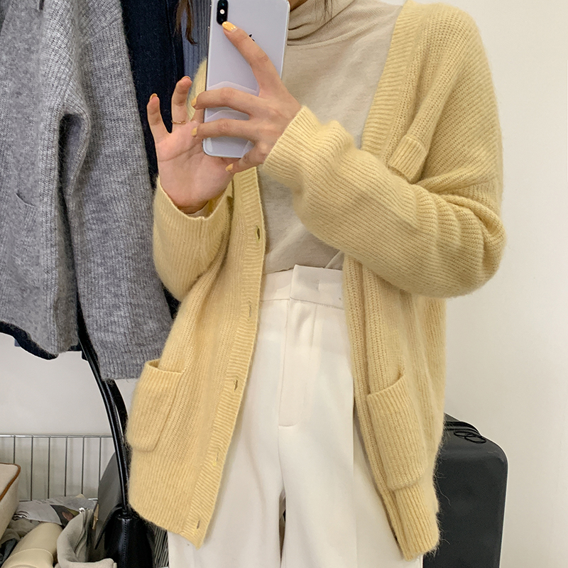 2020 new knitted jacket spring and autumn Wool Mohair blended high quality and loose Korean V-neck cardigan