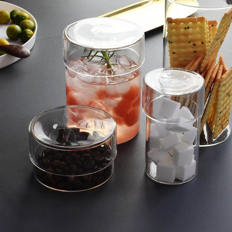 透明玻璃储物罐储物瓶花茶美妆储存器皿套组咖啡豆北欧收纳玻璃瓶