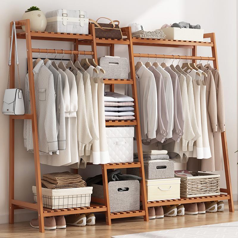 挂衣架落地简易卧室内房间家用晾衣服神器置物架子衣帽间多功能柜