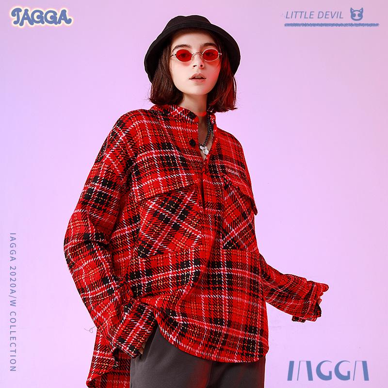 IAGGA2020款秋季新品牛仔夹克中性风街头男外套国潮宽松格子衬衫