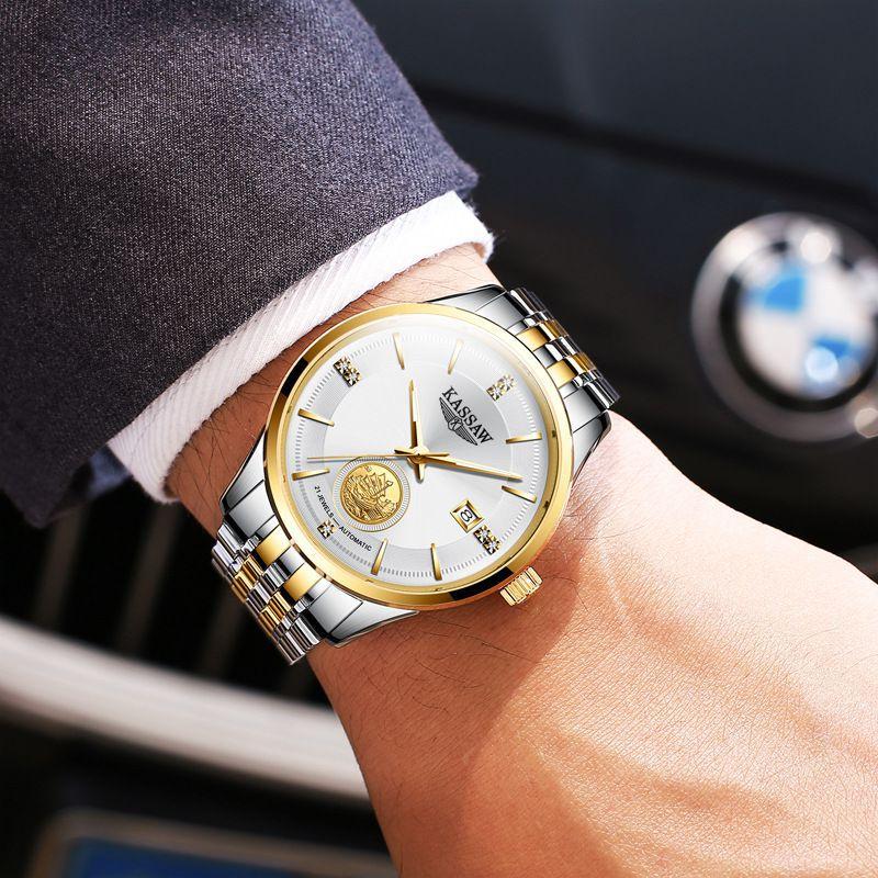 瑞士十大品牌卡梭正品纯真金24K金表男 黄金手表男机械表足金男表