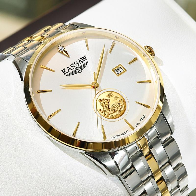 正品卡梭手表男士24K金表貔貅机械表男表超薄防水商务瑞士机芯