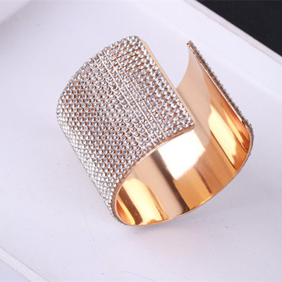 Decorative wide Bracelet female exaggerated fashion personality trendsetter full diamond open Bracelet personality Korean summer and autumn sweater cuffs