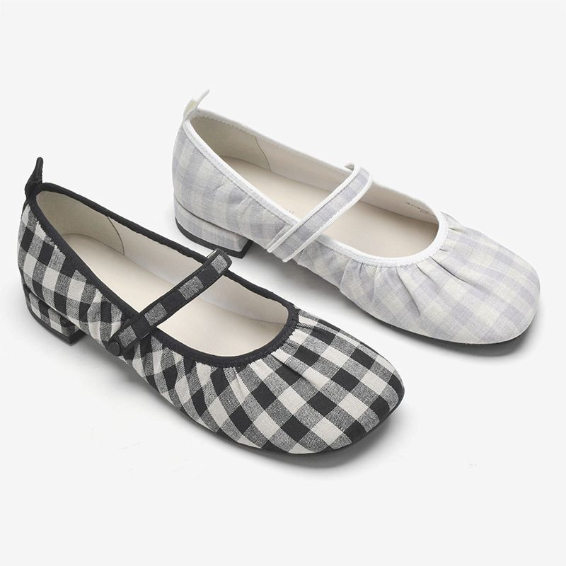 Small CK womens shoes spring 2021 versatile new checkered thick heel flat ballet single shoes womens Mary Jane single shoes