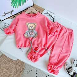 New children's suit girl bear casual sweater pants two-piec