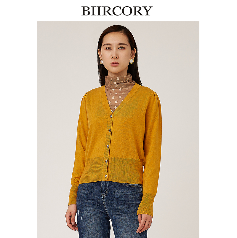 Biircory Belle Kelly fall 2020 new wool V-neck cardigan sweater
