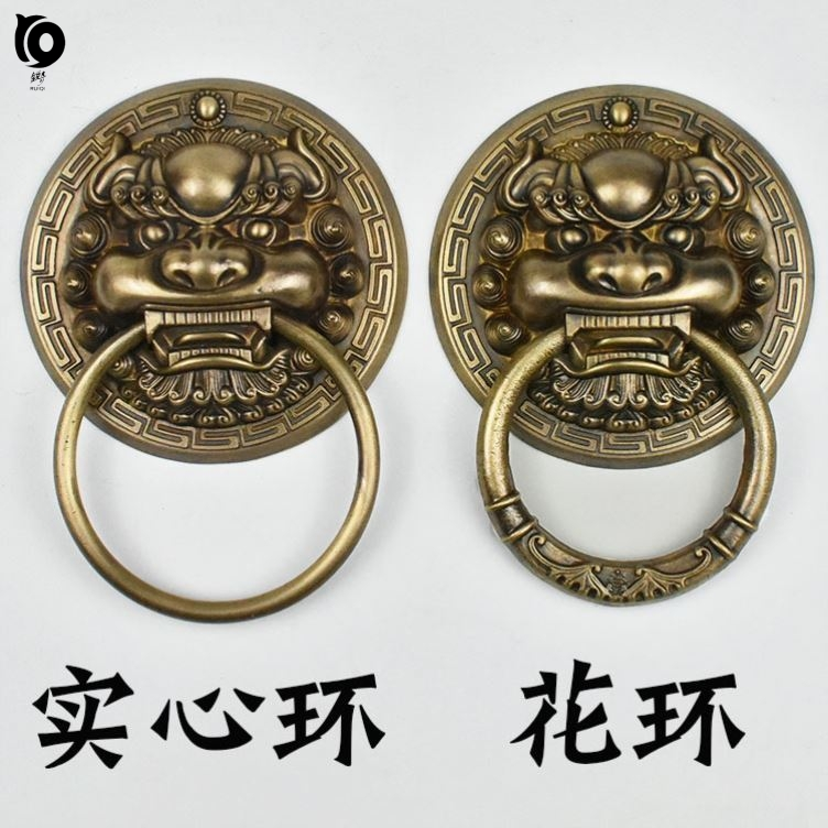 Kylin, a retro lion. Temple door ring bronze old-fashioned door opposite opening antique pull ring ancient household entrance door