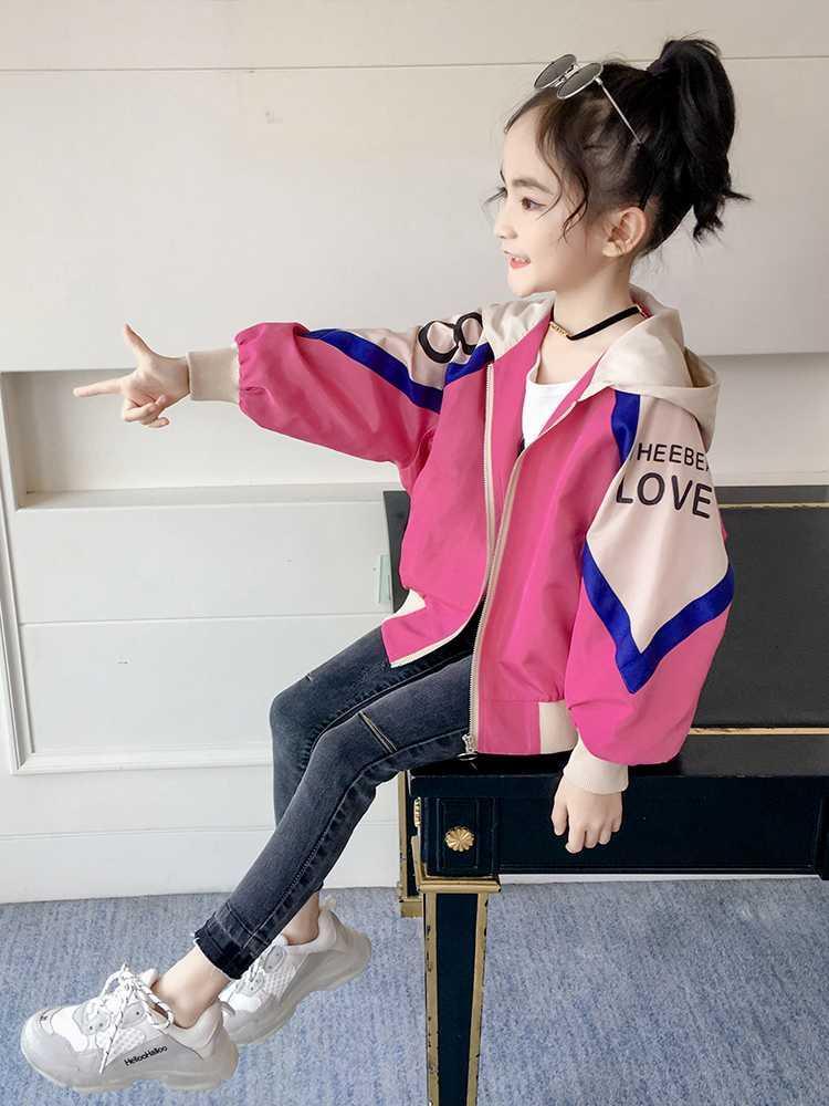 中國代購 中國批發-ibuy99 夹克女 童装女童春装2021新款韩版女大童儿童春秋季洋气时尚薄款夹克外套