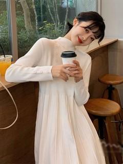 女装2021新款潮秋冬季韩版侧边扣针织连衣裙小个子气质内搭打底裙