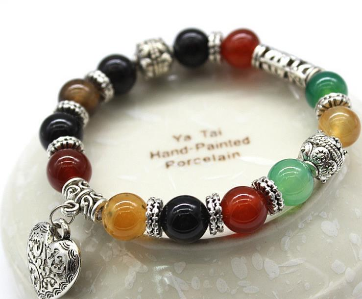 Magic agate natural stone bracelet womens creative versatile ancient silver cats eye hand string package