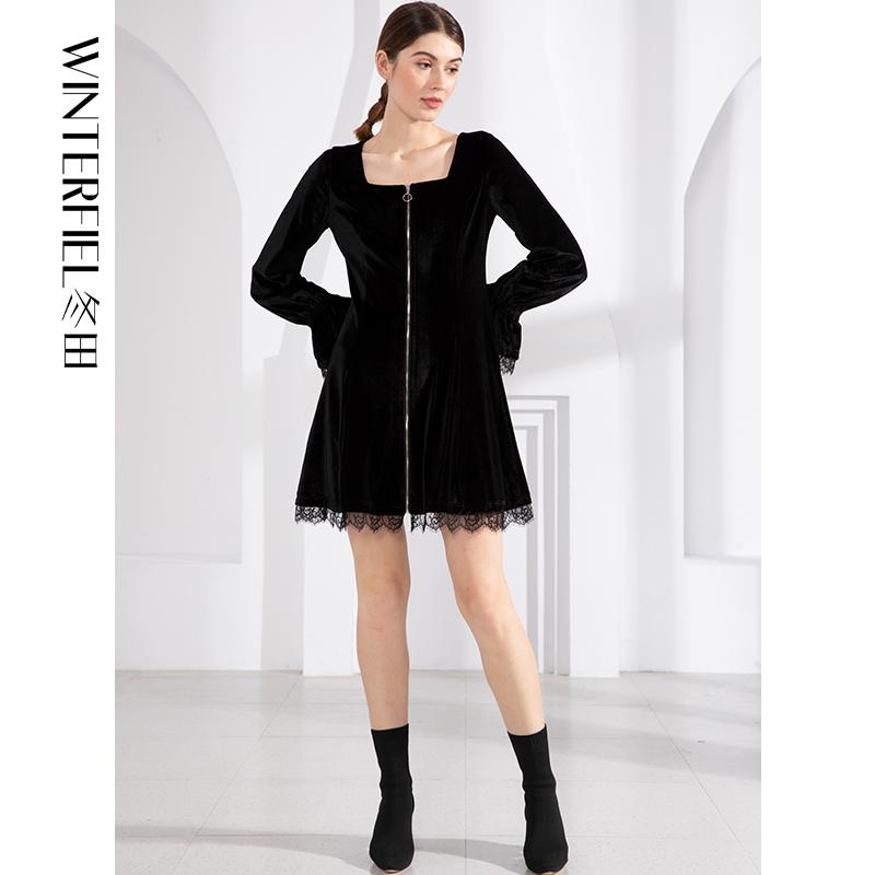 Retro zipper square neck black dress with slim waist, slim fit shorts skirt, new in spring 2021