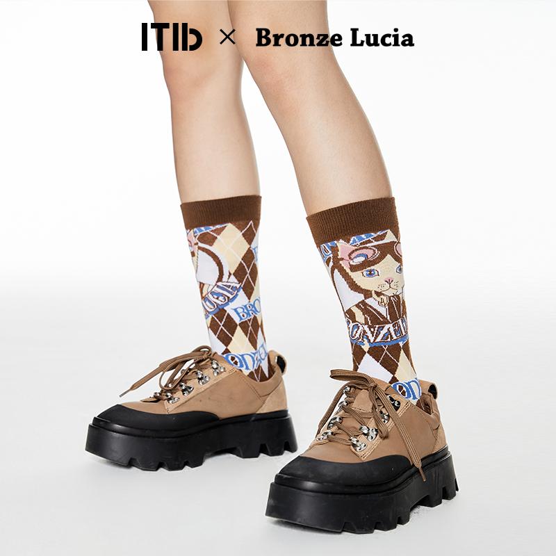 薇娅推荐 Bronze Lucia设计师联名款 创意图案中筒袜ins潮袜子