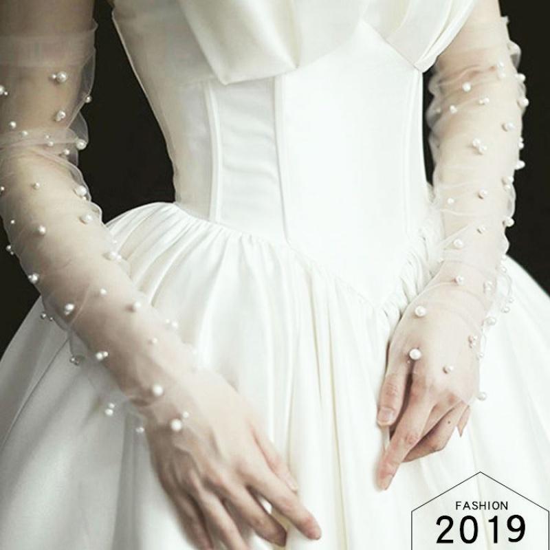 长款婚纱手套新娘全指结婚手套仙韩式蕾丝原创新款白色珍珠网纱款