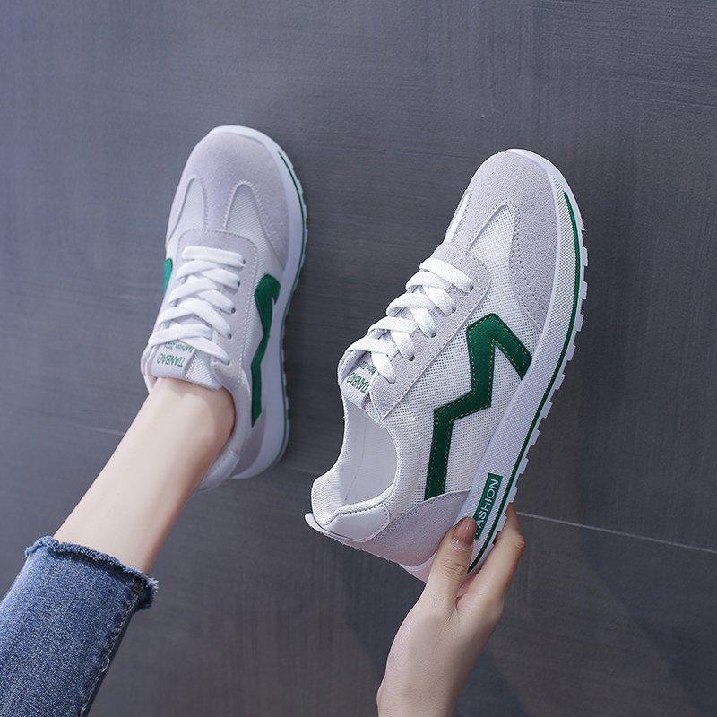 小白鞋女2021夏季新款网面透气运动鞋女百搭松糕底增高平底单鞋女