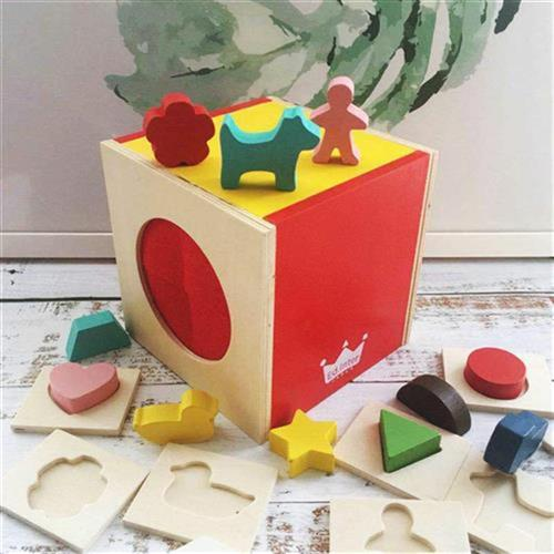 Zhang Dandans Montessori tactile box l baby early education touch guess K touch box shape matching educational toys