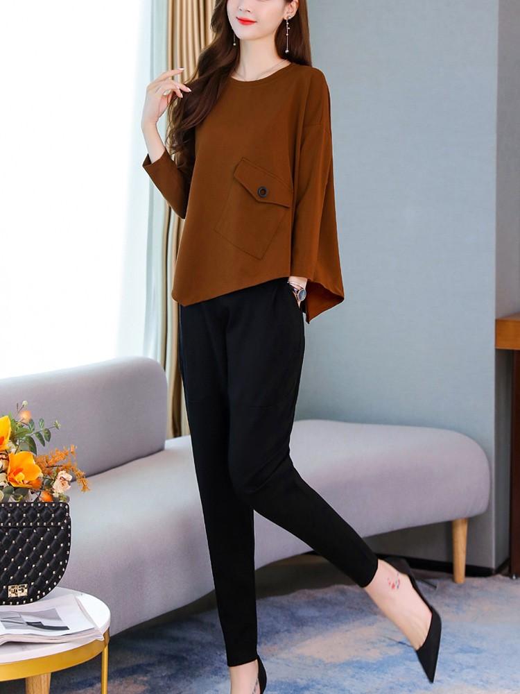 休闲套装女2020春秋季新款潮显瘦宽松大码小香风运动风时尚两件套