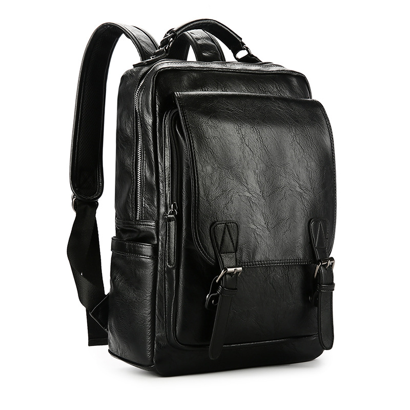 New Korean fashion trend mens backpack student travel buckle leather bag factory direct sales