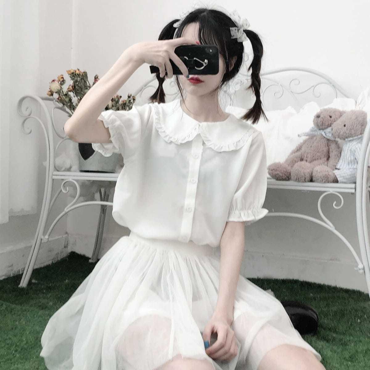 Summer student Lolita baby collar Japanese soft girl JK Shirt Short Sleeve bubble sleeve top girl