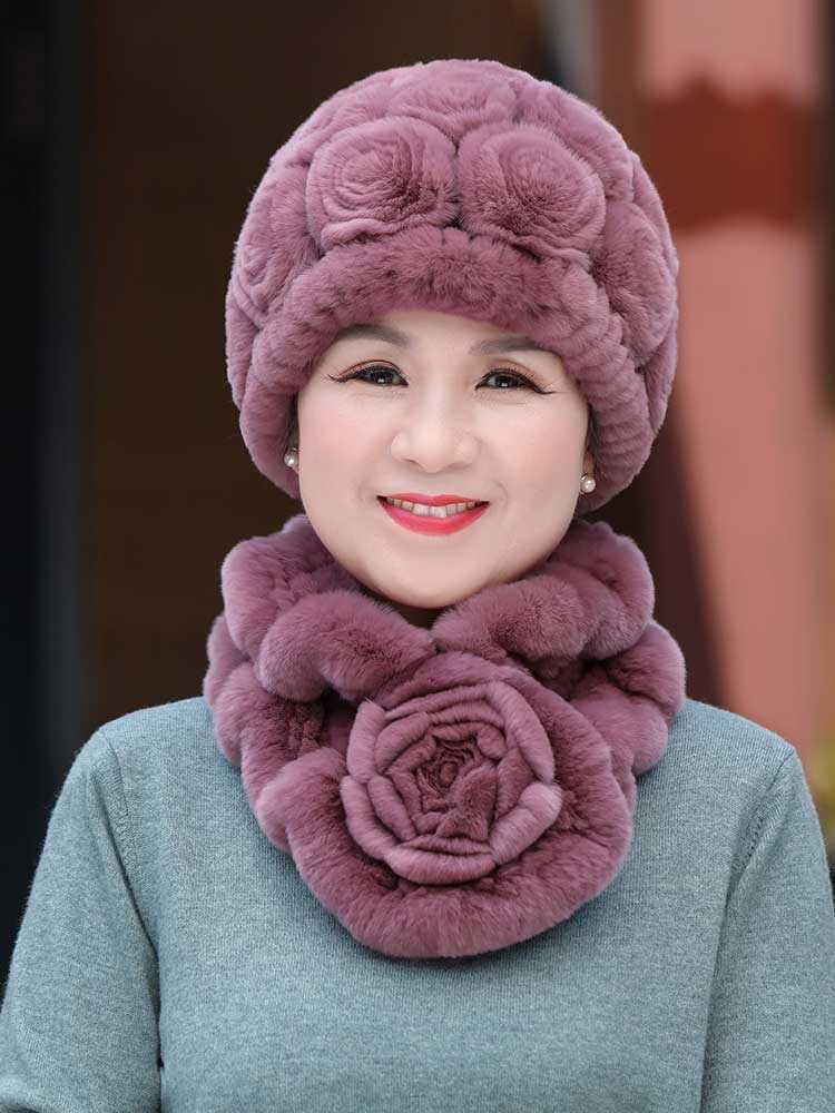 帽子女冬天女士皮草獭兔毛线老太太老人妈妈帽中老年人秋冬季奶奶
