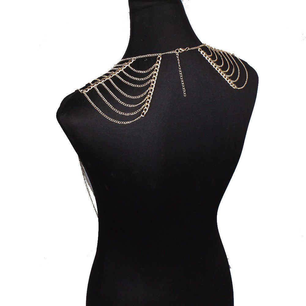 European and American foreign trade pearl tassel double shoulder chain inlaid with diamond multilayer chain personality exaggerated long body chain necklace
