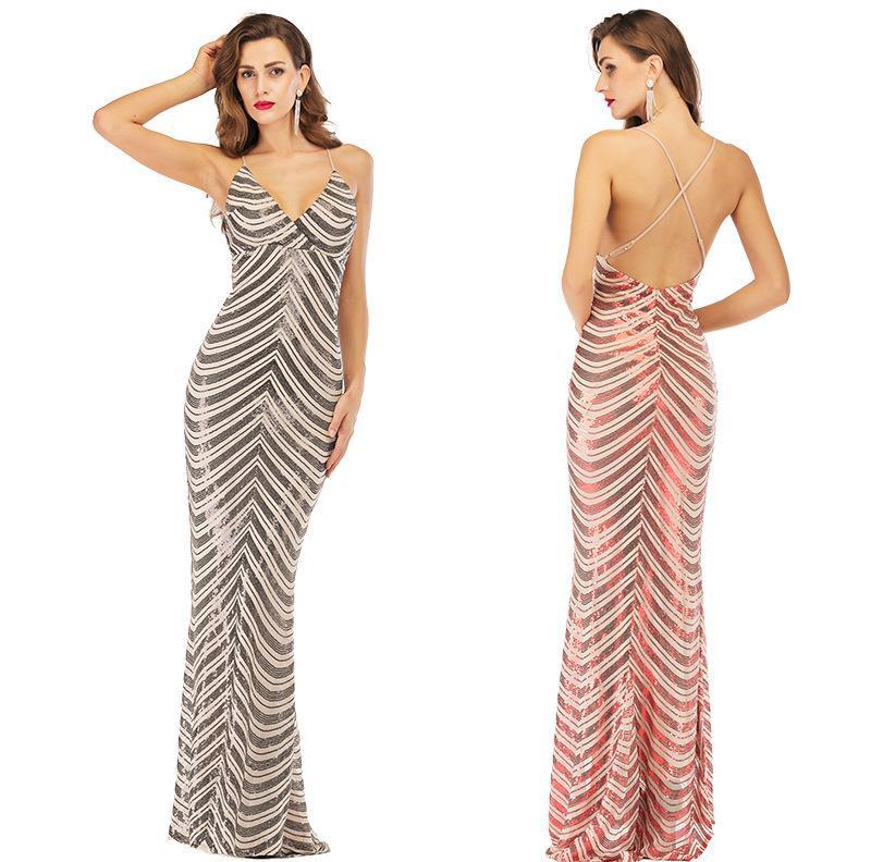 Dress, halter strapless dress, deep neck stretch sequined mo