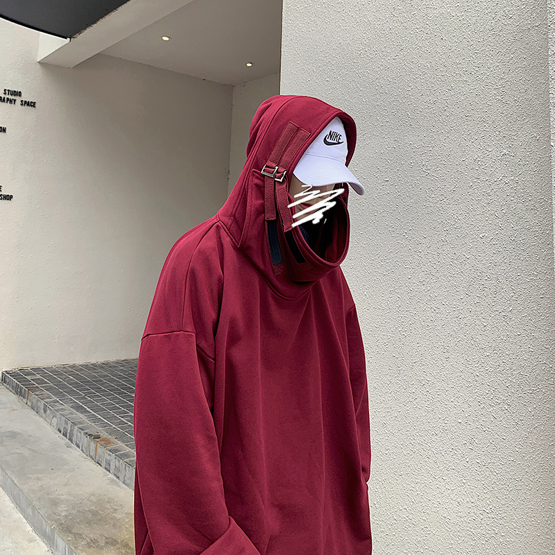 Mens casual hoodie coat spring and autumn high collar Hoodie trend versatile ins long sleeve T-shirt loose